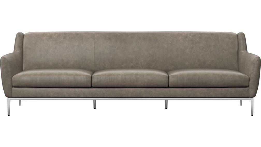 Alfred Extra Large Grey Leather Sofa + Reviews | CB2