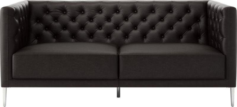 Savile Black Leather Tufted Apartment Sofa Reviews Cb2