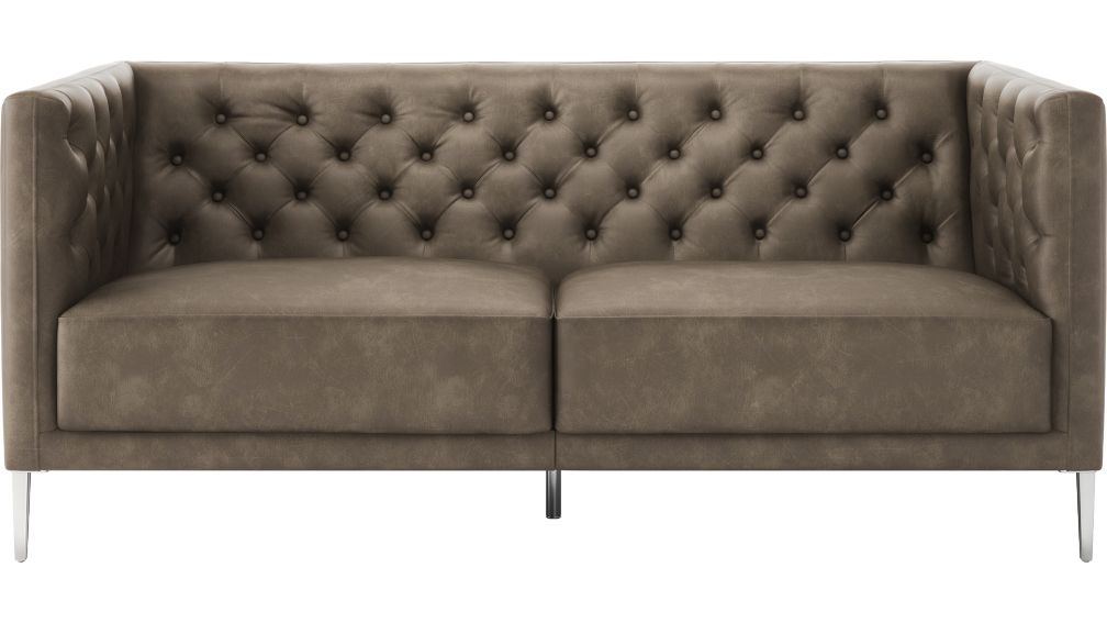 Savile Bello Grey Leather Tufted Apartment Sofa + Reviews | CB2