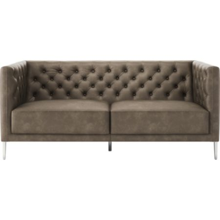 Superb Savile Bello Grey Leather Tufted Apartment Sofa Reviews Cb2 Short Links Chair Design For Home Short Linksinfo