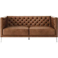 Savile Leather Tufted Apartment Sofa   CB2