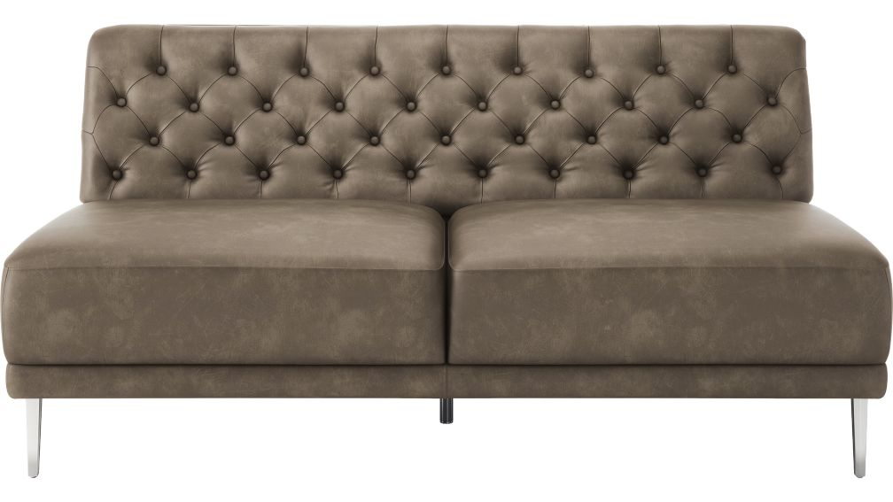 Savile Bello Grey Leather Tufted Armless Sofa + Reviews | CB2