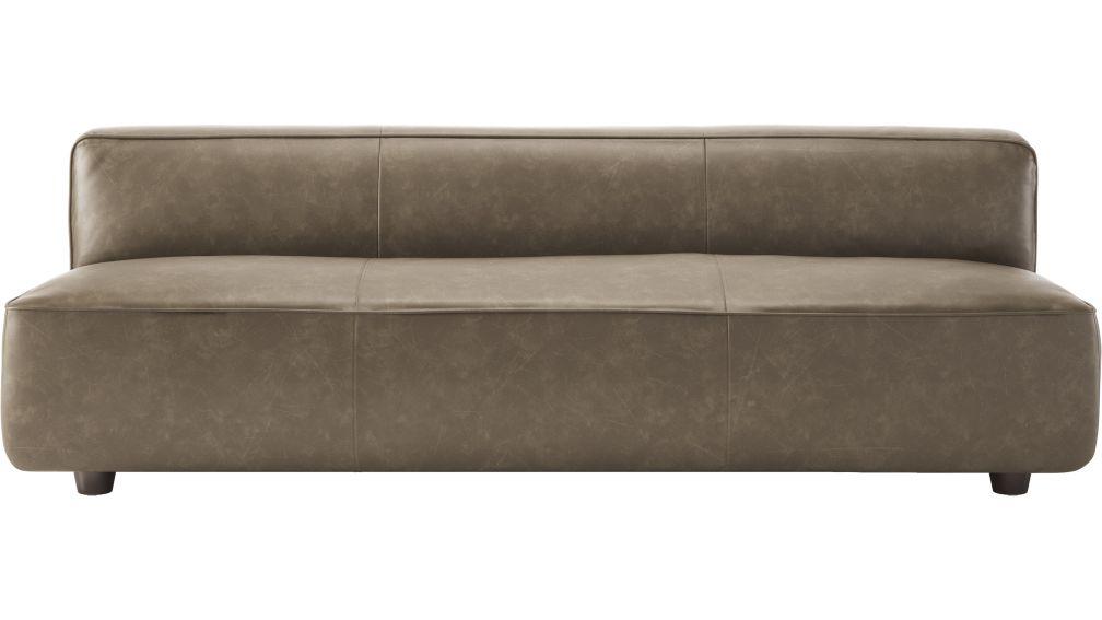 Lenyx Bello Grey Leather Armless Sofa + Reviews | CB2