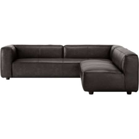 Lenyx Bello Black Leather 2-Piece Extra Large Sectional | CB2
