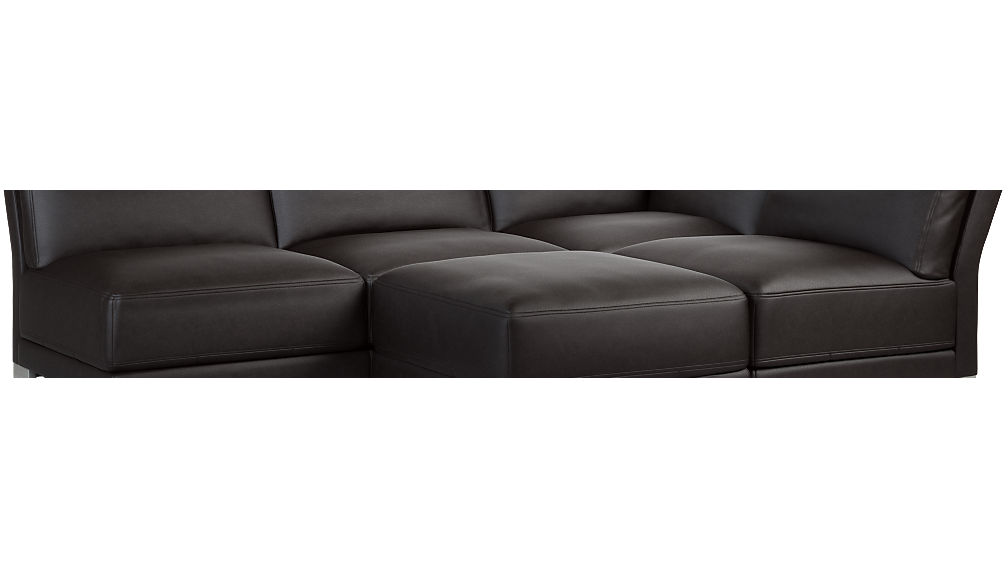 Gybson Black Leather 4 Piece Sectional Sofa + Reviews | CB2