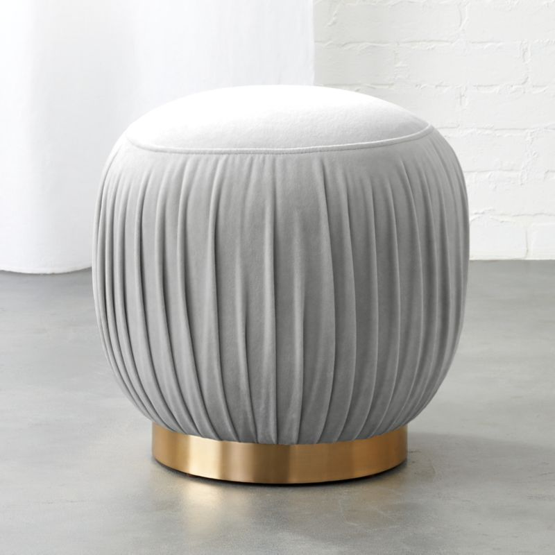 Ottomans Fawler Ottoman: Pleated Grey Ottoman-Stool + Reviews