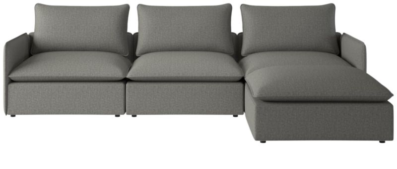 Lumin Grey Linen 4-Piece Sectional Sofa