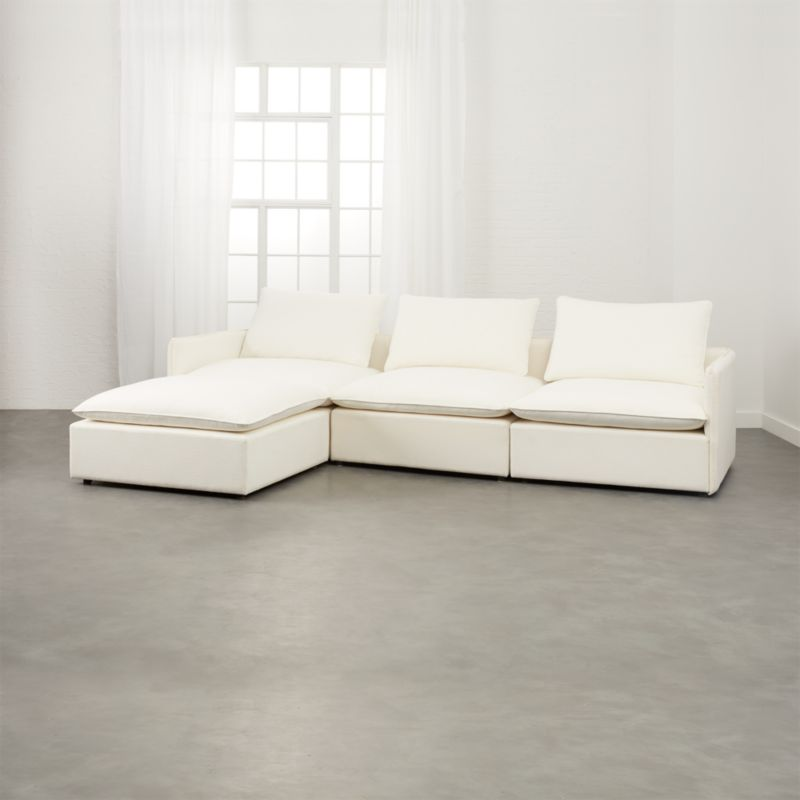Lumin White Linen 4-Piece Sectional Sofa