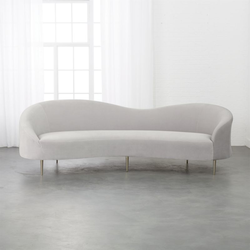 Awe Inspiring Curvo Light Grey Velvet Sofa Caraccident5 Cool Chair Designs And Ideas Caraccident5Info