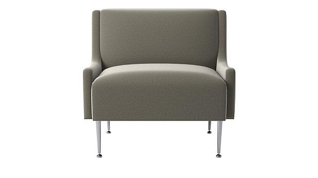 Regent Sharkskin Grey Velvet Wingback Chair With Chrome Legs