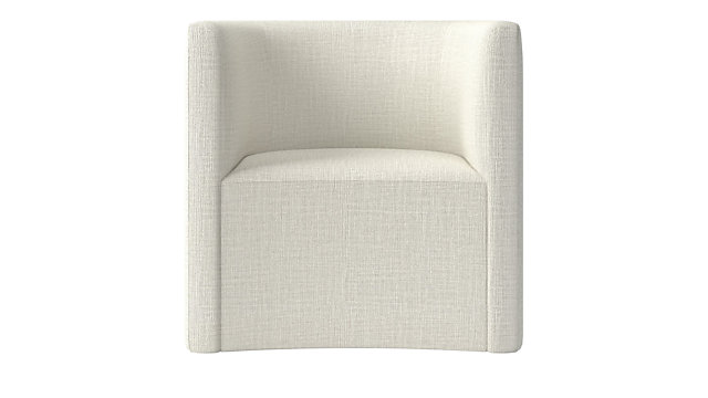 Covet Snow Curved Chair. shown in Lindy, Snow