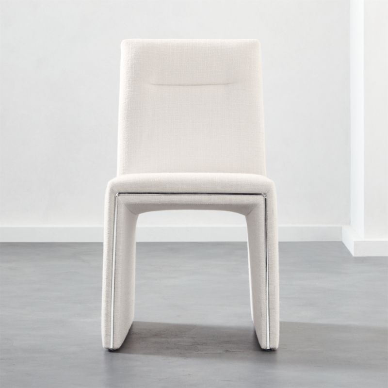 Silver Lining White Armless Dining Chair by Crate&Barrel