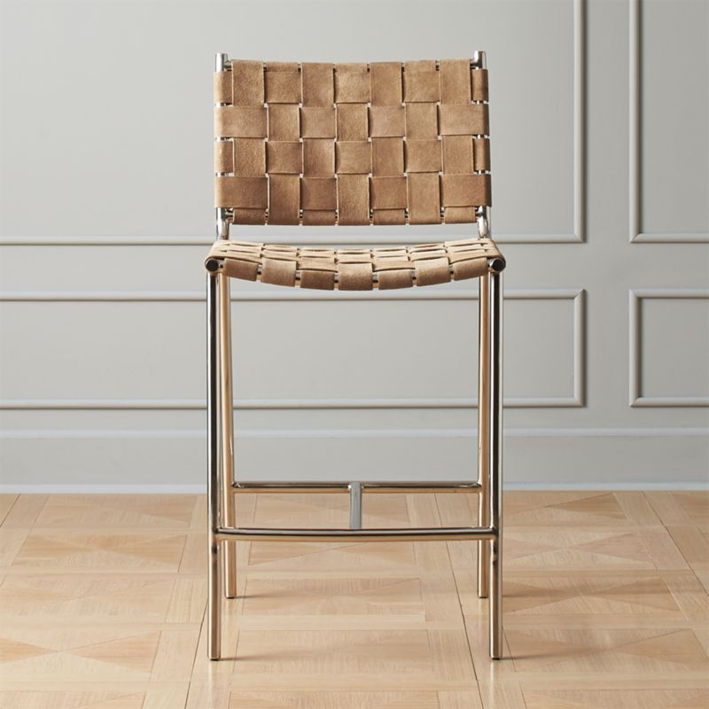 best loved 71656 da005 Woven Brown Suede Counter Stool 24
