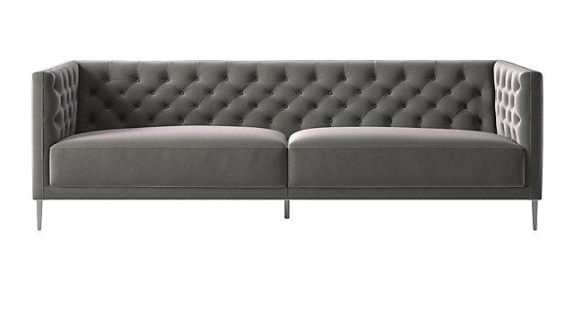 Savile Storm Velvet Sofa. shown in Luca, Storm