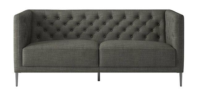 Savile Slate Tufted Apartment Sofa. shown in Nomad, Slate