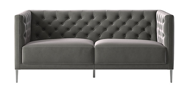 Savile Storm Velvet Apartment Sofa. shown in Luca, Storm