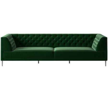 Savile Tufted Extra Large Sofa Luca Emerald | CB2