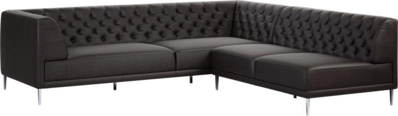 Awe Inspiring Savile Black Leather Tufted Sectional Sofa Evergreenethics Interior Chair Design Evergreenethicsorg
