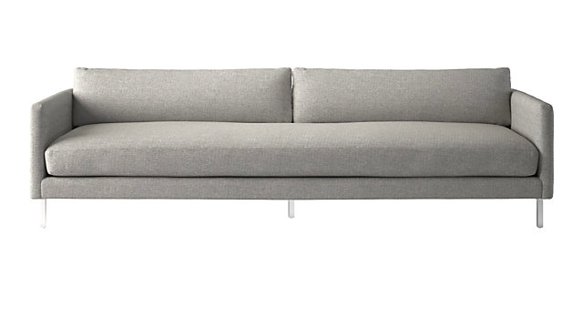 Midtown Platinum Slim Sofa. shown in Hatch, Platinum