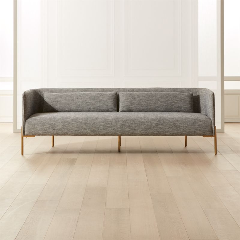 Colette Grey Sofa With Piping Cb2