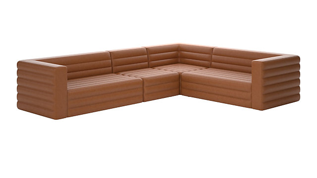 Strato 4-Piece Leather Sectional Sofa (Left Arm Sofa, Right Arm Sofa, Armless Chair, Corner Chair). shown in James, Chestnut