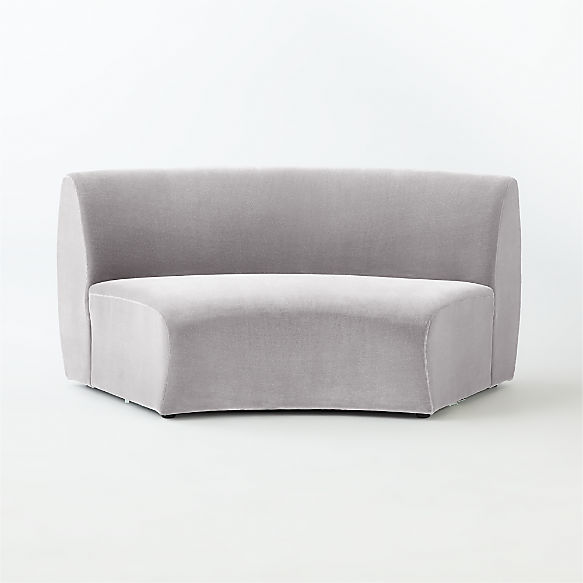 Roma Armless Sofa. shown in Faux Mohair, Silver