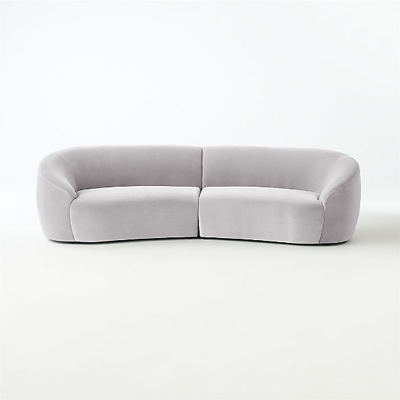 Roma 2-Piece Sectional Sofa (Left Arm Sofa, Right Arm Sofa). shown in Faux Mohair, Silver