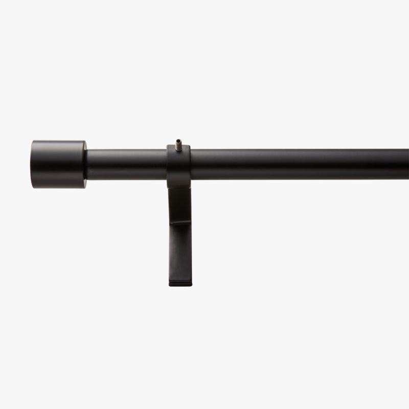 Matte Black Cap Finial Curtain Rod Set