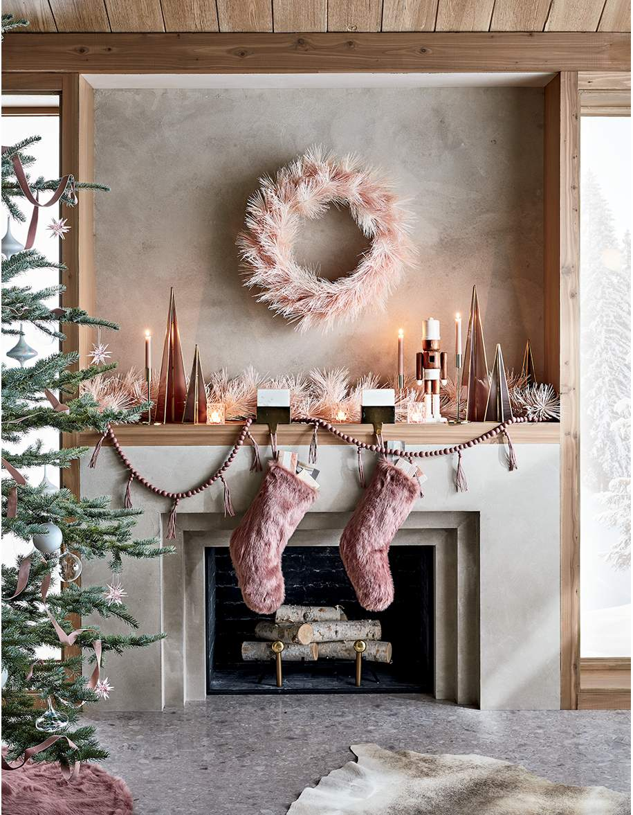pink holiday decor for your fireplace mantel