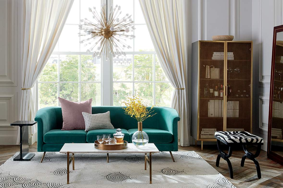 modern living room with teal sofa