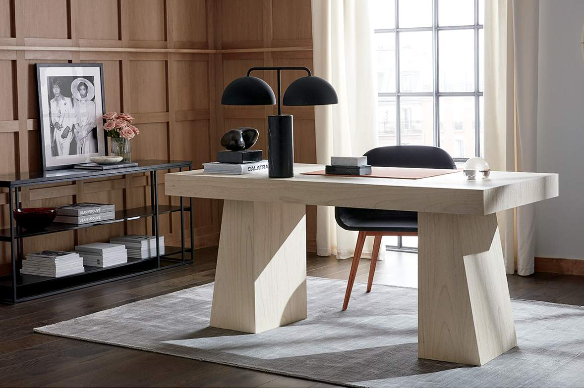 modern office with white wood table