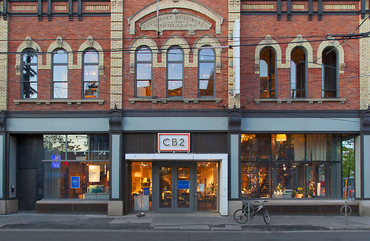 Exterior view of Crate and Barrel location, Toronto